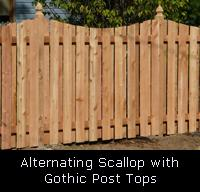 Alternating Scallop Wood Fence