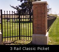3 Rail Classic Picket Ornamental Fence