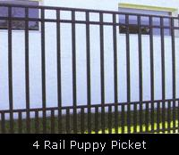 4 Rail Puppy Picket Ornamental Fence