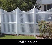 3 Rail Scallop PVC Fence